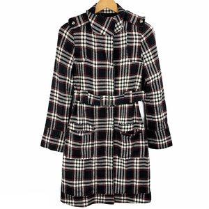 Charlotte Russe Plaid Checker Belted Long Coat
